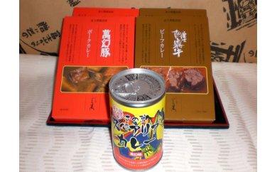 ふるさと納税:カレー食べ比べセット (朝霧牛カレー2個・萬幻豚カレー2個・スペアリブカレー)